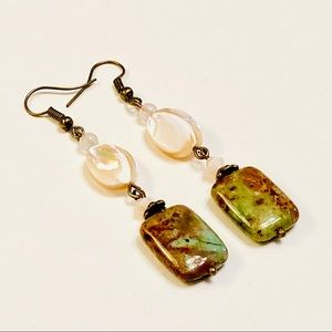 African Green Opal & Mother-of-Pearl Earrings